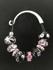 Multi-Color Black and Silver Hook Beaded Bracelet
