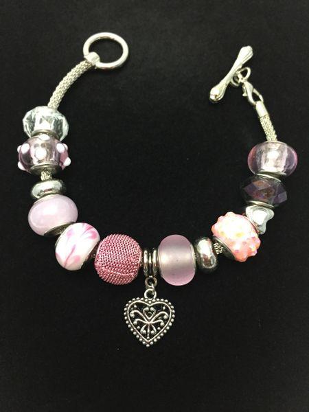 Silver Heart Beaded Toggle Bracelet