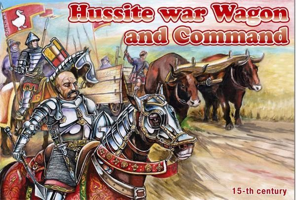 1/72 Hussite War Wagon & Command (Wagon, Oxen, 6 Horses & 6 Figures) - Orion 72039