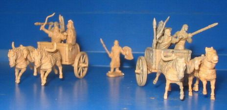 1/72 Battle of Qadesh 1300BC Hittite Warriors (10) w/2 Chariots & 4 Horses - Caesar 12