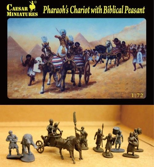 1/72 Pharaoh's Chariot w/2 Horses & Biblical Peasants (11) - Caesar 42
