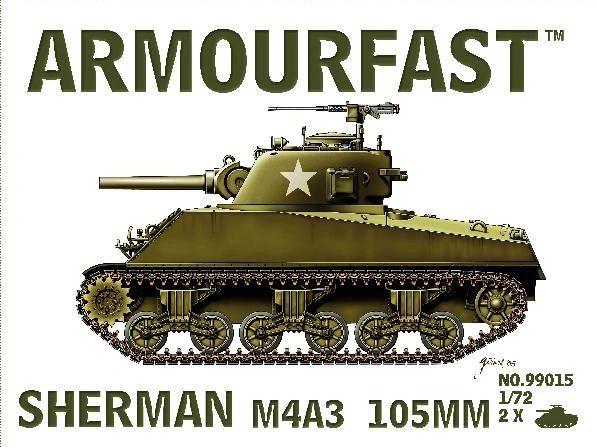 1/72 Sherman M4A3 Tank w/105mm Gun (2) - Armourfast 99015