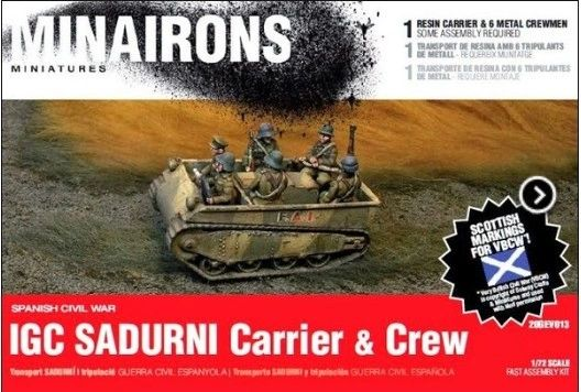 1/72 Spanish Civil War: IGC Sadurni Carrier (1) w/Crew (Resin) - Minairons 7213