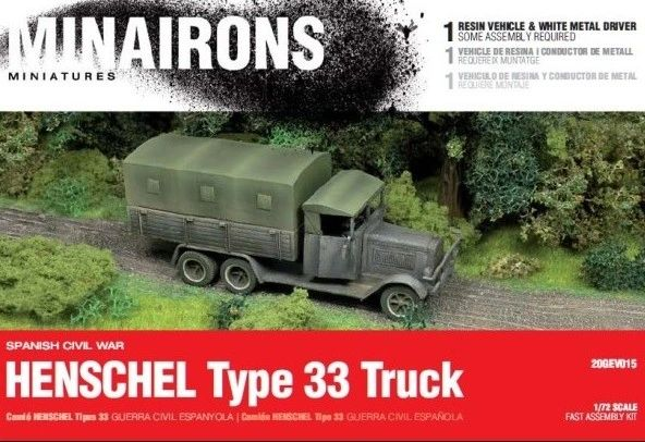 1/72 Spanish Civil War: Henschel Type 33 Truck (1) w/Driver (Resin) - Minairons 7215
