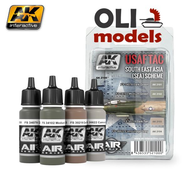 Air Series: USAF TAC Southeast Asia (Sea) Scheme Acrylic Paint Set (4 Colors) 17ml Bottles - AK Interactive 2100