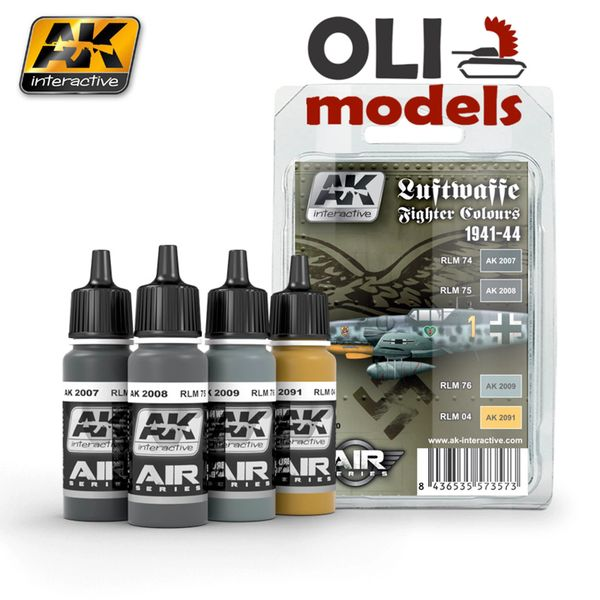 Air Series: Luftwaffe Fighter Camouflage Acrylic Paint Set (4 Colors) 17ml Bottles - AK Interactive 2090