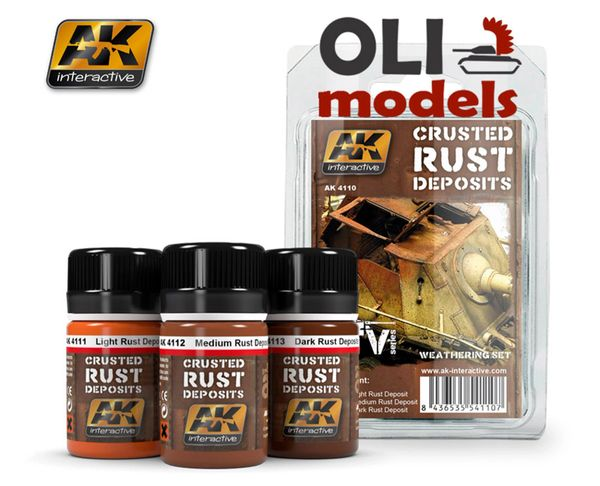 Crusted Rust Deposits Weathering Enamel Paint Set (3 Colors) 35ml Bottles - AK Interactive 4110