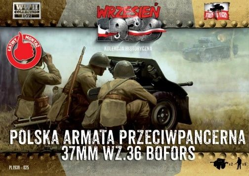 1/72 Bofors 37mm Wz.36 Gun (2) w/6 Crew - First to Fight 025