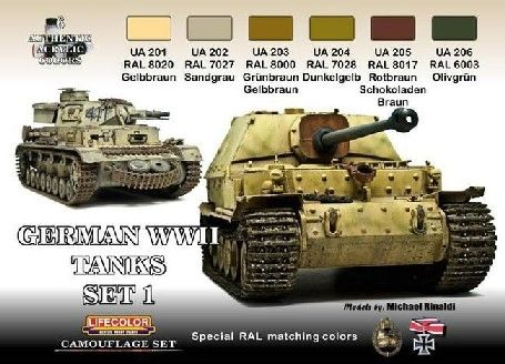 German WWII Tanks #1 Camouflage Acrylic Set (6 22ml Bottles) - Lifecolor CS1
