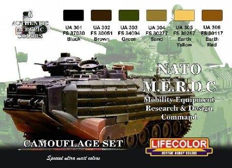 NATO MERDC Camouflage Acrylic Set (6 22ml Bottles) - Lifecolor CS2