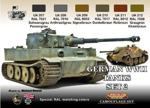 German WWII Tanks #2 Camouflage Acrylic Set (6 22ml Bottles) - Lifecolor CS3
