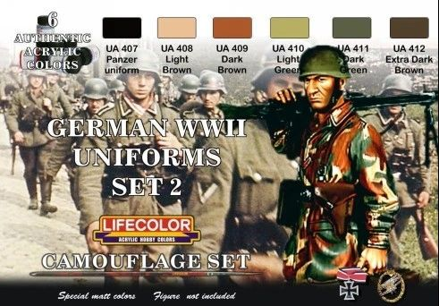 German WWII Uniforms #2 Camouflage Acrylic Set (6 22ml Bottles) - Lifecolor CS5