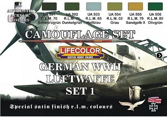 German WWII Luftwaffe #1 Camouflage Acrylic Set #1 (6 22ml Bottles) - Lifecolor CS6