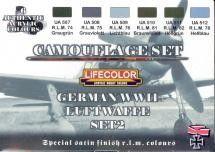 German WWII Luftwaffe #2 Camouflage Acrylic Set (6 22ml Bottles) - Lifecolor CS7