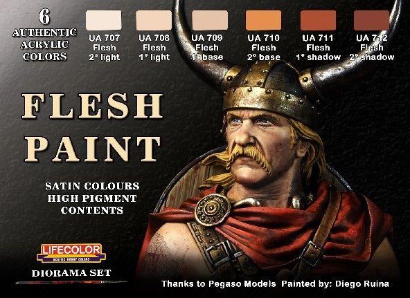 Flesh Tones Diorama Acrylic Set (6 22ml Bottles) - Lifecolor CS13