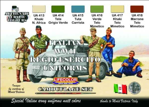Italian WWII Uniforms Camouflage Acrylic Set (6 22ml Bottles) - Lifecolor CS14