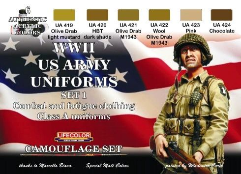 US Army WWII Class A Uniforms #1 Camouflage Acrylic Set (6 22ml Bottles) - Lifecolor CS17