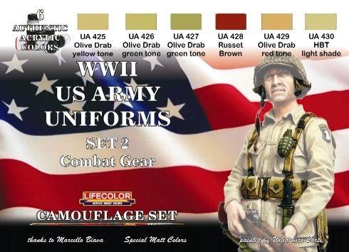 US Army WWII Combat Gear Uniforms #2 Camouflage Acrylic Set (6 22ml Bottles) - Lifecolor CS18
