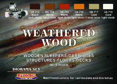 Weathered Wood Diorama Acrylic Set (6 22ml Bottles) - Lifecolor CS20