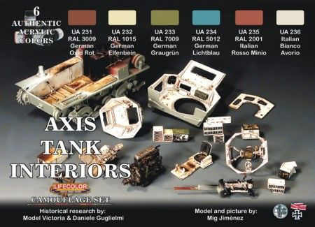 Axis WWII Tank Interiors Camouflage Acrylic Set (6 22ml Bottles) - Lifecolor CS22