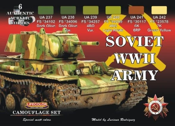 Soviet WWII Army Camouflage Acrylic Set (6 22ml Bottles) - Lifecolor CS23