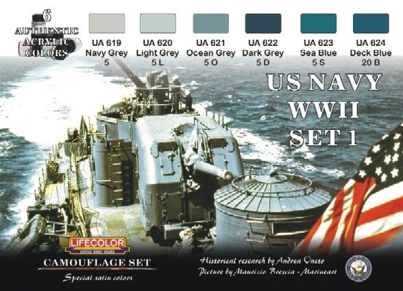 US Navy WWII #1 Camouflage Acrylic Set (6 22ml Bottles) - Lifecolor CS24