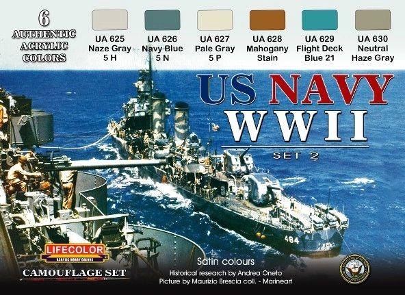 US Navy WWII #2 Camouflage Acrylic Set (6 22ml Bottles) - Lifecolor CS25