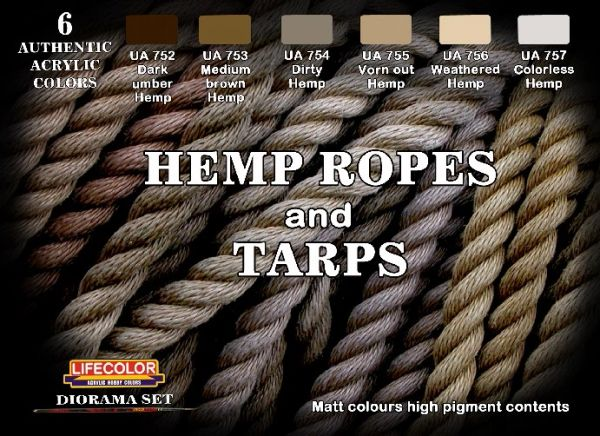 Hemp Ropes & Tarps Diorama Acrylic Set (6 22ml Bottles) - Lifecolor CS28