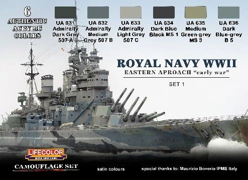 Royal Navy WWII Eastern Approach Early War Set #1 Camouflage Acrylic Set (6 22ml Bottles) - Lifecolor CS33