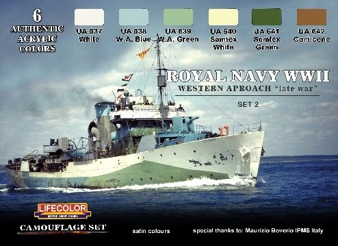 Royal Navy WWII Western Approach Late War Set #1 Camouflage Acrylic Set (6 22ml Bottles) - Lifecolor CS34