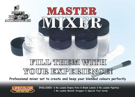 Master Mixer Set to Create Blended Colors (6 empty pots w/labels) - Lifecolor MX