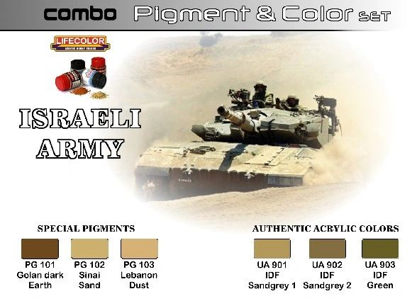 Israeli Army Pigment & Color Acrylic Set (6 22ml Bottles) - Lifecolor SPG1