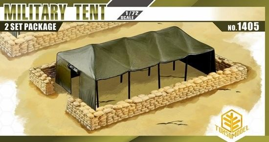 1/72 Military Tent (2) w/Sandbag Walls - TOXSO 1405