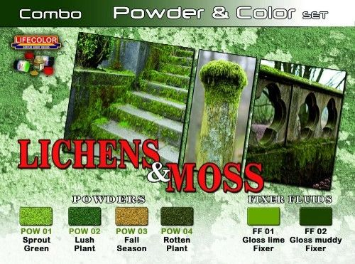 Lichens & Moss Powder & Color Acrylic Set (6 22ml Bottles) - Lifecolor SPG6