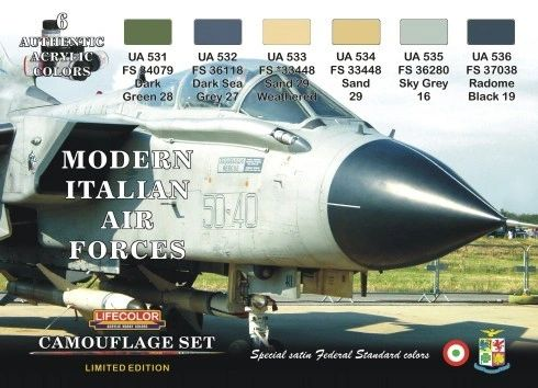 Italian Modern Air Force Camouflage Acrylic Set (6 22ml Bottles) - Lifecolor XS7