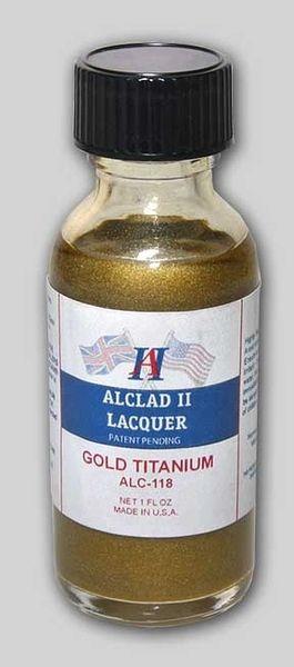 1oz. Bottle Titanium Gold Lacquer - ALCLAD 118