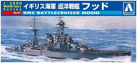 1/2000 HMS Hood Battlecruiser - Aoshima 9321