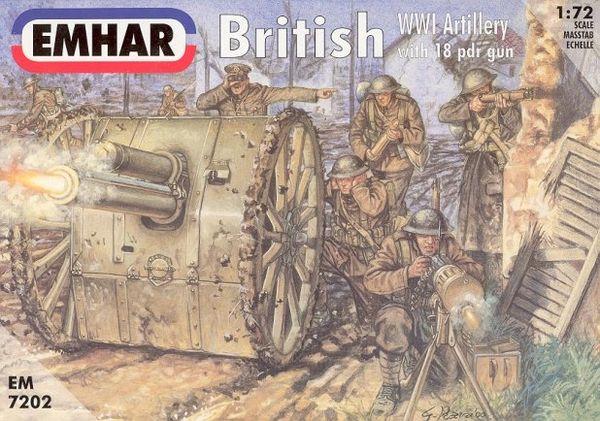 1/72 WWI British Artillery (24) w/2 18-Pdr Guns - Emhar 7202