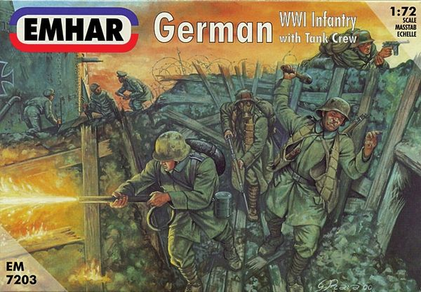 1/72 WWI German Infantry w/Tank Crew (48) - Emhar 7203
