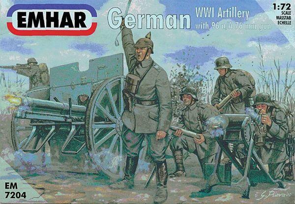 1/72 WWI German Artillery (24) w/2 96 n/A 76mm Guns - Emhar 7204
