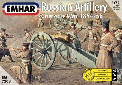 1/72 Crimean War 1854-56 Russian Artillery (27) w/3 Guns - Emhar 7208