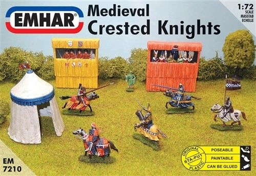 1/72 Medieval Crested Knights (7 Mtd, 1 Foot, Grandstand & Tent) - Emhar 7210
