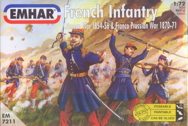 1/72 Crimean War 1854-56 & Franco Prussian War 1870-71 French Infantry (50) - Emhar 7211