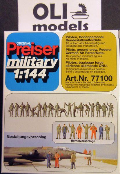 1/144 Unpainted German AF/NATO Pilots & Ground Crew (18) - Preiser 77100