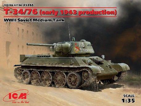 1/35 WWII Soviet T34/76 Early 1943 Production Medium Tank - ICM 35365