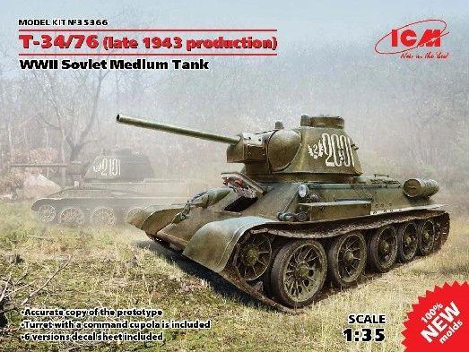 1/35 WWII Soviet T34/76 (Late 1943 Production) Medium Tank - ICM 35366