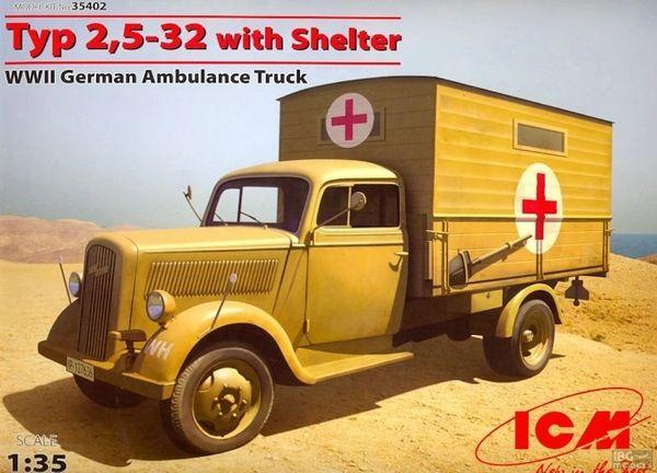 1/35 WWII German Type 2,5-32 Ambulance Truck w/Shelter - ICM 35402