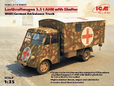 1/35 WWII German Lastkraftwagen 3,5t AHN w/Shelter Ambulance Truck - ICM 35417