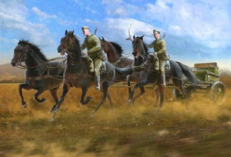 1/35 Soviet Regiment Artillery Horse Transport 1943-45 (Gun, 4 Horses & 2 Figures) - ICM 35481