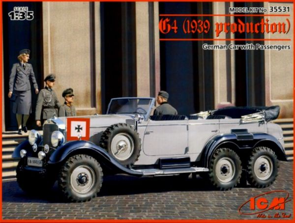 1/35 WWII German G4 1939 Production Staff Car w/4 Figures - ICM 35531